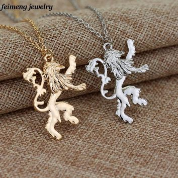 Drop shipping a lot the Game of Thrones Lannisters Pendant necklace Gold Silver plated Lion Chain Necklace For Men Women