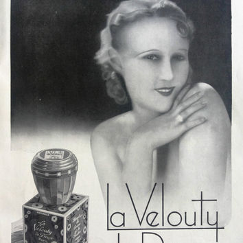 La Velouty De Dixor, original art deco advertising poster, vintage advertisement for framing, L'Illustration 1932