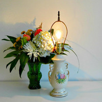 Vintage Table Lamp, Off White Ceramic Lamp With Colorful Floral Bouquet and Gold Trim