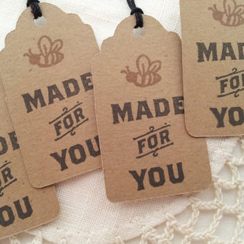 Made for You Honey Bee Vintage Inspired Mini Kraft Tags Set of 25