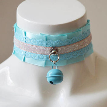 Kitten play collar - Glittery skies - ddlg little satin princess choker - kawaii cute fairy kei harajuku pink lace and turquoise blue