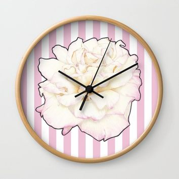 Pale Rose on Stripes Wall Clock by drawingsbylam