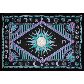 Handmade Cotton Celestial Sun Moon Star Tapestry Spread Twin Purple Green 70x104