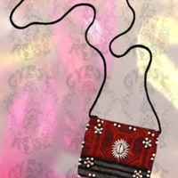 BEADAZZLED HAND-WOVEN NECK POUCH: Gypsy Rose
