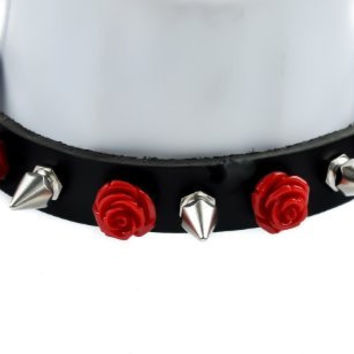 Red Rose and Spike Leather Choker Necklace