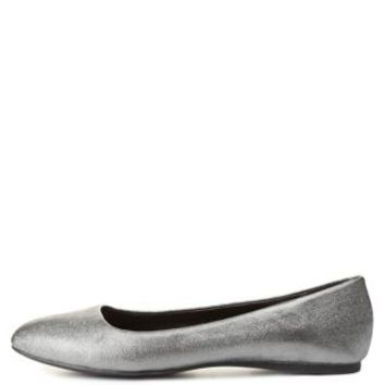 Pointed Toe Metallic Shimmer Ballet Flats by Charlotte Russe