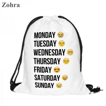 Emoji Drawstring Bag Travel Backpack Zohra Brand 3D Printing