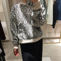Knit Geometric Pattern Pullover Sweater [8491862413]