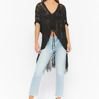 Distressed Ladder Lace-Up Fringe Sweater