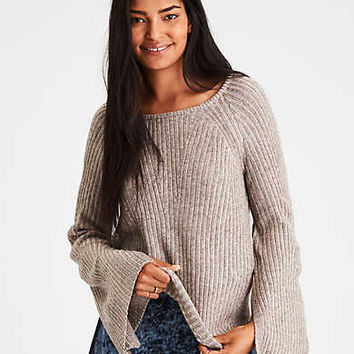 AE Split-Bell-Sleeve Ribbed Sweater, Oatmeal
