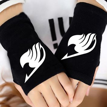 Hot Anime Fairy Tail Guild Finger Cotton Knitting Wrist Gloves Mitten Lovers Accessories Cosplay Warm Cospaly Fingerless Gloves