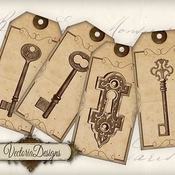 Key Tags instant download printable gift tags digital Collage Sheet VD0370