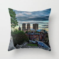 York Walls leading to York Minster at Sunset  Throw Pillow by Karl Wilson Photography