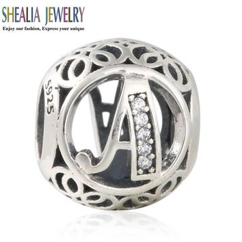 AAA Clear CZ Vintage Letters A Charms Beads Fit Pandora Bracelet 925 Sterling Silver A