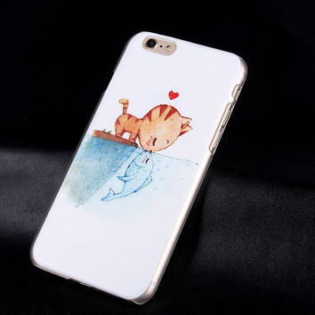 Ultra Thin cute cat  Shy beauty skull bat  Case Cover For Apple iPhone 6 6s 5 5s Case Luxury Transparent Back Cover For Phone