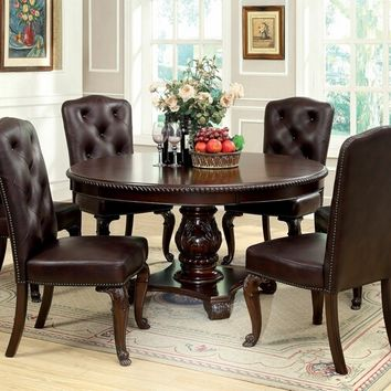Furniture of america CM3319RT-L-SC 7 pc bellagio ii collection brown cherry finish wood round pedestal dining table set with upholstered back chairs