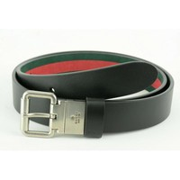 Gucci Black Reversible leather and Web belt