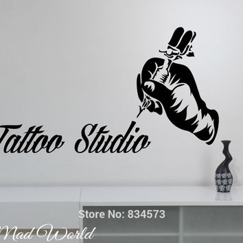 Mad World-Tattoo Studio Tattoo Machine Wall Art Stickers Decal Home DIY Decoration Wall Mural Removable Room Decor Wall Stickers