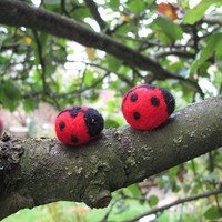 two tiny ladybugs by HandmadeByNovember on Etsy