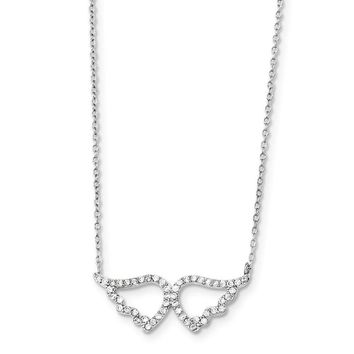 Sterling Silver Cz Wings W/2in Ext. Necklace