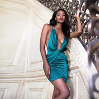 Champagne Nights Silk Teal Mini Dress