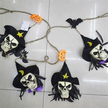 ONETOW Halloween Decoration Hanging Bat Skull Halloween Props for Haunted House Bar KTV Yard Scary Decor FE05