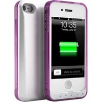 uNu DX Lite iPhone 4S Battery Case / iPhone 4 Battery Case - White / Crystal Magenta (MFI Certified, Stylish Bumper Style Case with 1500mAh Built-in Battery Fits All models of Apple iPhone 4S and iPhone 4)