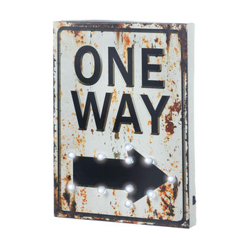 "Metal Sign-LED Light-up Rusted ""One-Way"""