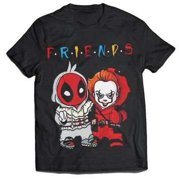 Friends pennywise the clown and deadpool mens t-shirt
