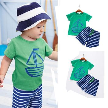 Cartoon T-Shirt +Beach Shorts Pant For Toddler Kids