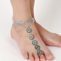 USA FAST SHIP-Sexy silver tone gypsy coin accented foot jewelry perfect for beach barefoot sandals. Gypsy boho body jewelry