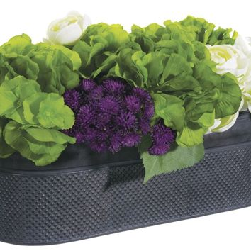 Lifelike Hydrangea Mixed Floral Arrangement In Textured Oval Container