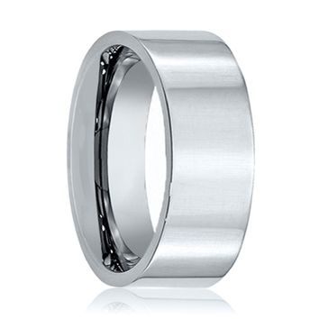 Aydins Tungsten Wedding Ring Shiny Polished Flat 6mm, 9mm, 12mm Tungsten Carbide Mens & Womens Band