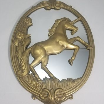 Vintage brass mythical unicorn wall mirror Collectable Great shape