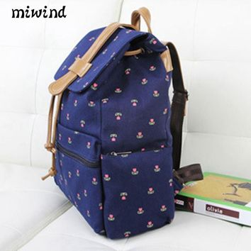 MIWIND school trendy canvas Backpacks women fashion Bags dot printing Students book Bags for Teenager girl shoulder mochila