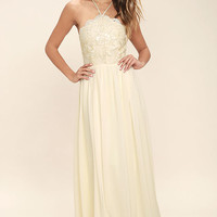 Stroll the Esplanade Cream Embroidered Maxi Dress