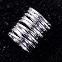 Real Pure 925 Sterling Silver Braided Rings For Women Vintage Twisted Wide Rings Aneis Feminino