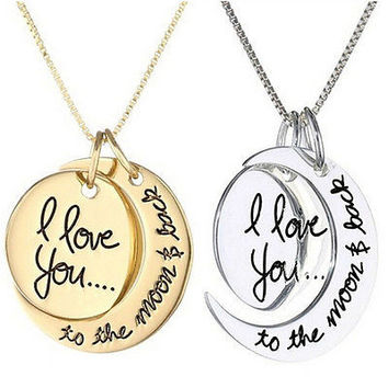 Chic Necklace I Love You To The Moon And Back Pendants Necklaces Jewelry C3