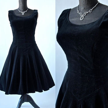 Vintage 50's Black Velvet Sleeveless Cocktail Mad Men Dress 1950's Full Skirt 27 inch Waist