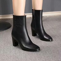 HEELS: 6.5CM  HERMES Trending Women Fashion Black Leather Zipper lace up Heels FLAT Boots High Top Shoes Winter Autumn