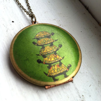 $32.50 Antique locket necklace A Neat Stack of Turtles by Locketfox
