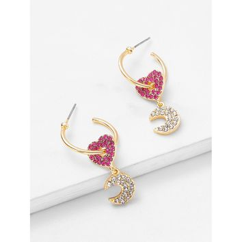 Pink Two Tone Heart And Moon Design Drop Earrings