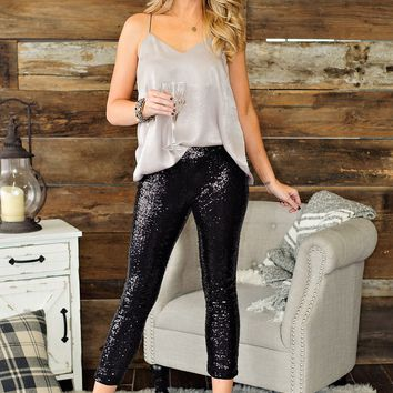 * Fame And Fortune Sequin Pants: Black
