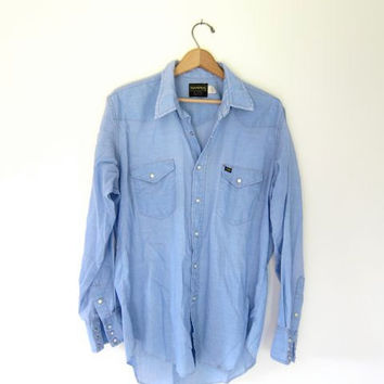 20% OFF SALE Vintage western shirt with pearl snaps. Men's Maverick button up shirt. Thin cotton blue shirt. Boyfriend work shirt.