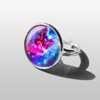 RING ART NEBULA Adjustable ring turquoise blue pink Nebula Solar System Planet Ring, Space Jewelry, Galaxy Ring. Gift for Girl or sister.