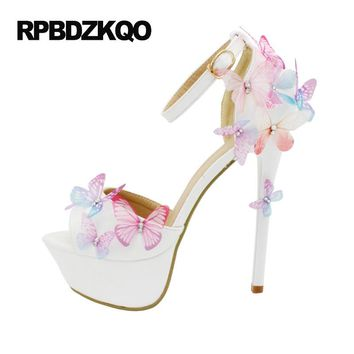 Plus Size 14cm 11 43 Rhinestone Open Toe Unique Sandals Super Pumps High Heels Ivory Shoes Wedding Crystal Crossdresser Platform