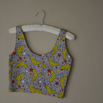 Wonder Woman Crop Top fits sizes XS/S by duckyDenim on Etsy