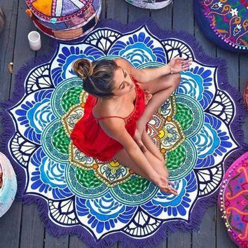 Deep Blue Indian Mandala Tapestry Beach Towel Table Cloth Bohemian Hike Picnic Blanket Yoga Mat