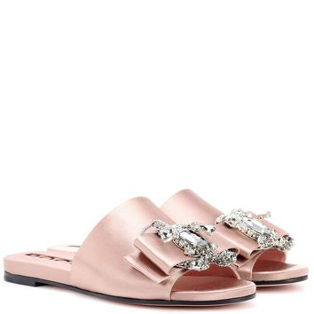Embellished satin slides