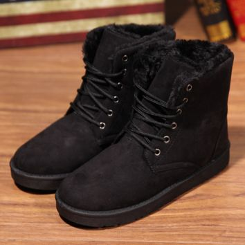 2016 New Warm Winter Boots Ankle Boots Waterproof Snow Girls Boots Female Shoes Suede with Plush Insole Botas Mujer Black